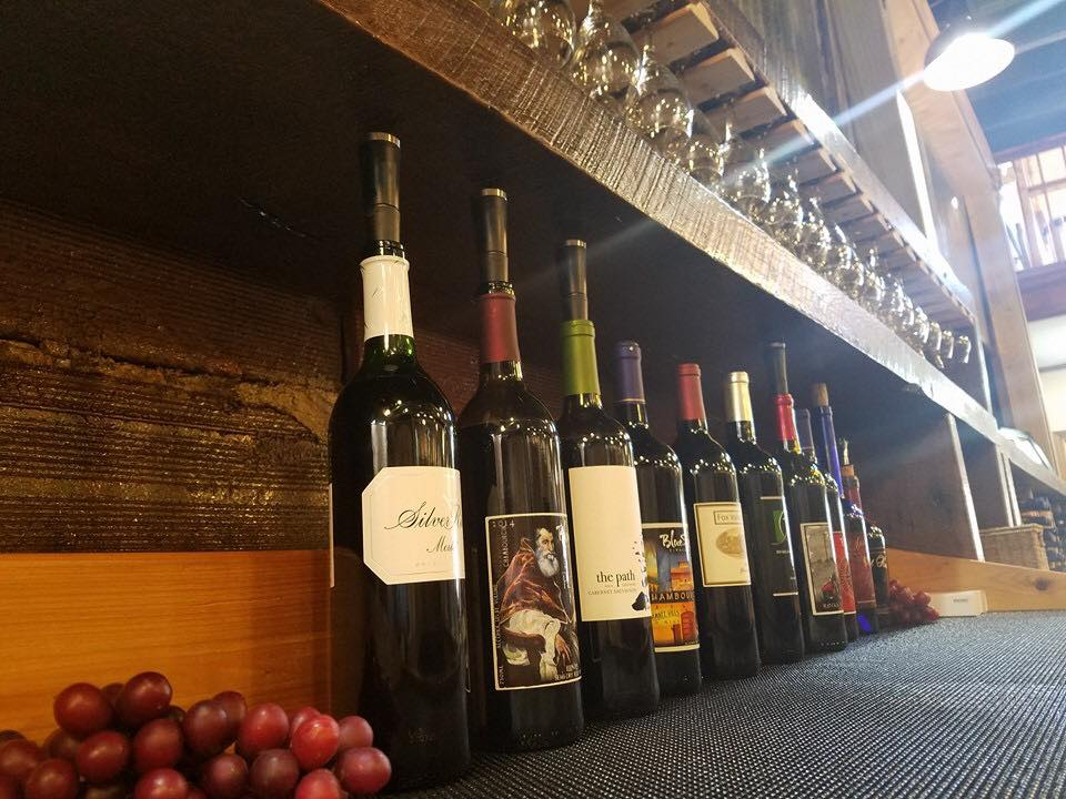 Wine on display