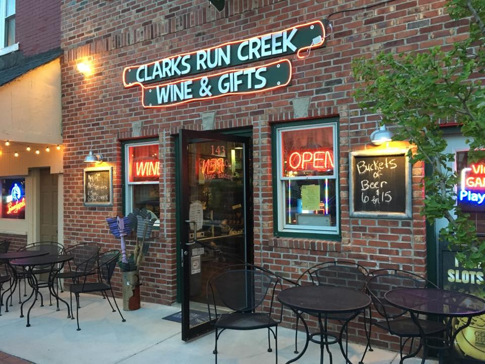Clarks run creek store front with sign