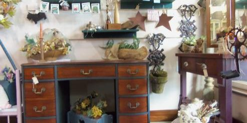 Home decor on vintage desk